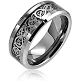King Will 8mm Tungsten Carbide Ring Silver Celtic Dragon Inlay Comfort Fit Wedding Bands Polished Finish