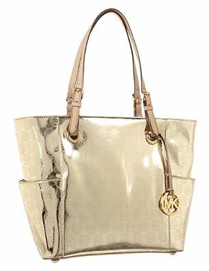 Michael Kors Handbag Signature Patent East West Pale Gold: Handbags