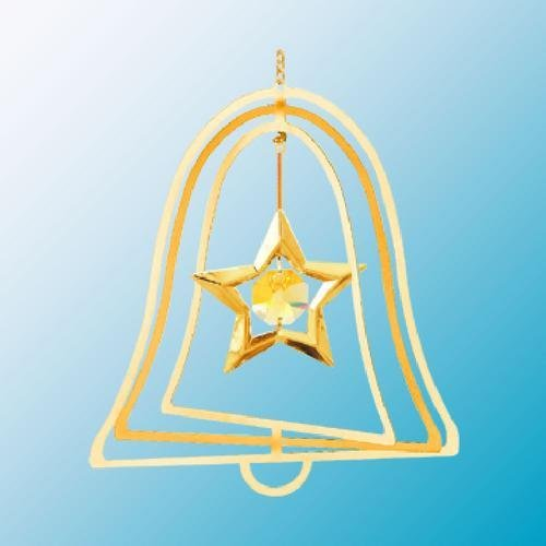 24K Gold Plated Hanging Sun Catcher or Ornament..... Star with Yellow Swarovski Austrian Crystals in a Bell