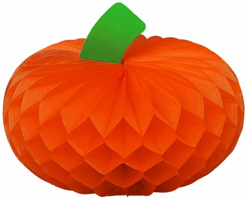 "4"" Honeycomb Pumpkin Glow Halloween Decorations, 4ct - 1"