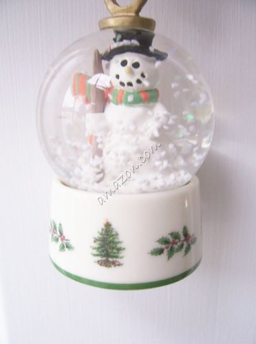 Spode Christmas Tree Signature Ornament 2003 Snow Globe, Snowman