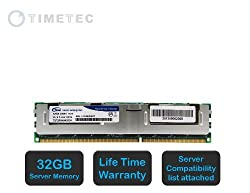 Timetec (T1333RF32GHC) 32GB 1333MHz DDR3L (PC3L-10600) ECC Registered 1.35V 240-Pin RDIMM CL9 Quad 4 Rank 4Rx4 1024x4 Reg Quad Rank In-Line Server Memory Module Upgrade For Selected AMAX, ASRock, ASUS/ASmobile,Cisco,Dell, DFI, Fujitsu,HP/Compaq, Huawei, IBM, Intel , NEC, Gigabyte, Quanta, Supermicro, Tyan Computers (32GB)