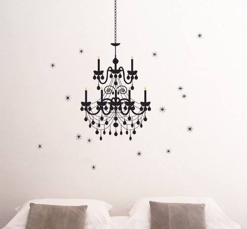 Createforlife Home Decoration Vinyl Wall Sticker Decals Mural Art Black Chandelier Ornaments