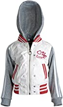 Urban Republic Little Girl PU Leather Jersey Varsity Jacket with Removable Hood