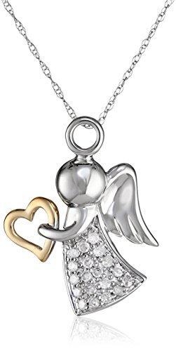 10k Two-Tone Gold Angel Pendant (0.14 cttw, I-J Color, I2-I3 Clarity)