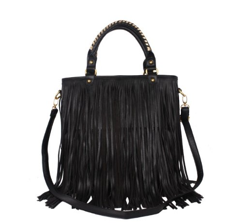 Exoticglitter Ladies Hand Shoulder Bag Black Fringe Double Tassel Tote Purse Arti- Leathere