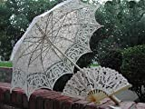 Ecru Full Lace Battenburg Lace Parasol W/fan