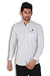 Kivon Men's White Slim Fit Printed Casual Shirt