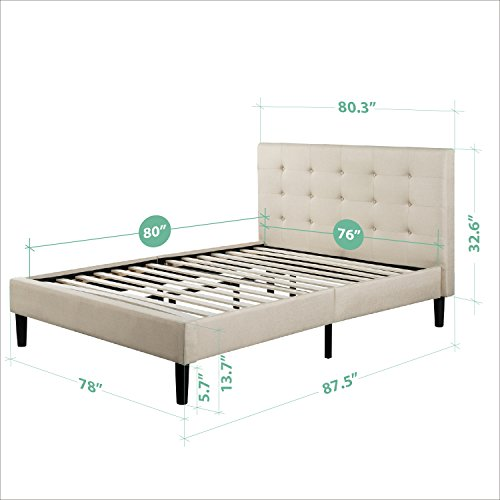 Zinus Upholstered Button Tufted Platform Bed with Wooden Slats, King