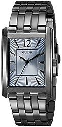 GUESS Men's U0665G2 Sleek Grey Stainless Steel Watch with Sky Blue Dial