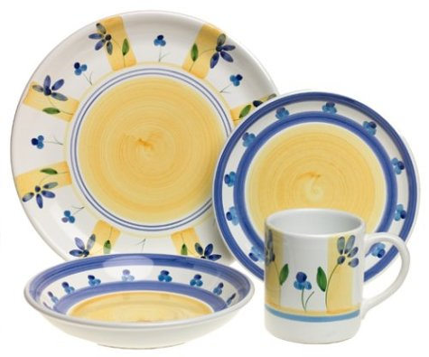 Caleca Zafferano 16-Piece Dinnerware Set, Service for 4