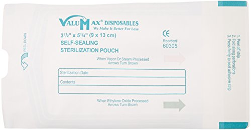 """Valumax 60305 Extra-Safe Self-Seal Sterilization Pouches With External Indicators, Inner Dimension 3.5""""X5.25"""", Box Of 200"""