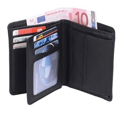 Portefeuille OTARIO, cuir véritable, noir 10x9cm