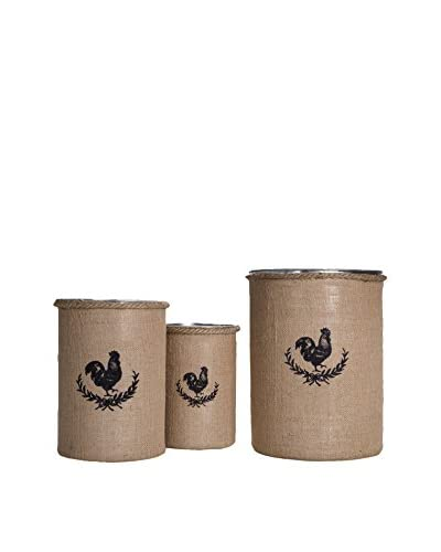 Home Essentials Set of 3 Round Rooster Galvanized Bucket, Burlap