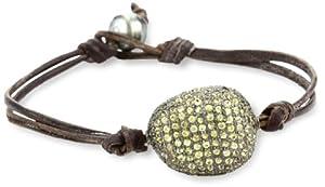 Kala Golden Sapphire Pave Bead on Leather Bracelet