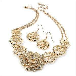 Brand New Dazzling Gold Colour Diamante Flower Chain Necklace And Earring Set