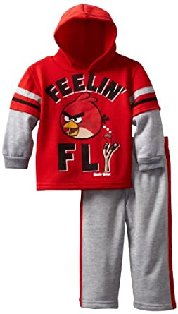 Angry Birds Boys 2-7 Toddler Fly Birdy 2 Piece Hoodie Set, Red, 2T