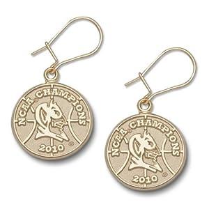 Duke Blue Devils 5 8 2010 NCAA Champions Logo Dangle Earrings - 14KT Gold Jewelry by Logo Art