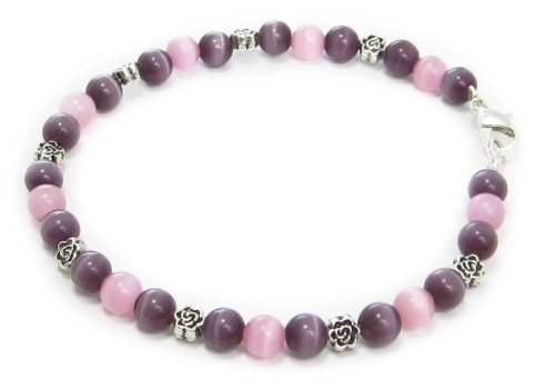 AM4803 – Unique purple and pink cats eye bead bracelet by Dragonheart – 20cm