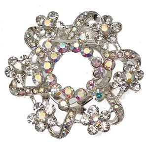 Forsythia Silver AB Crystal Scarf Clip