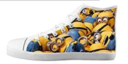 Renben Kids Girl\'s Despicable Me Minion Canvas Shoes Lace-up High-top Sneakers Fashion Running Shoes