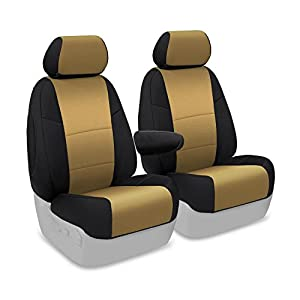 Coverking Custom Fit Front 50/50 Bucket Seat Cover for Select Honda Civic Models - Neosupreme 2-Tone (Tan with Black Sides)