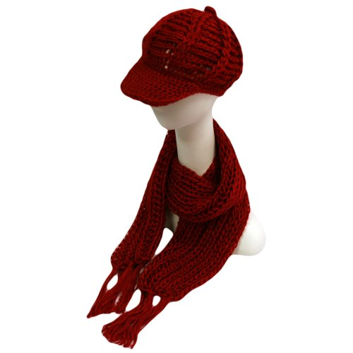 Red Chunky Knit Newsboy Cabbie Hat & Scarf Matching Set