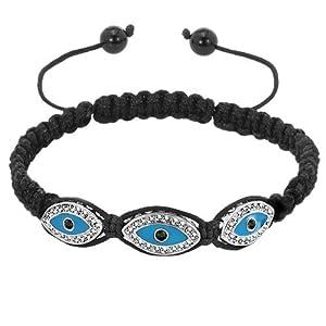Pugster Clear White Crystal Aquamarine Blue Hamsa Hand Evil Eyes Black String Adjustable Bracelet
