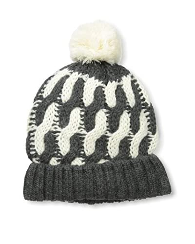 Block Headwear Men's Two-Tone Cable Knit Hat, Charcoal Heather