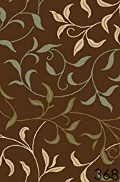 NEW Leafs Chocolate Floral Design Rubber backed non-slip Area Rug Carpet