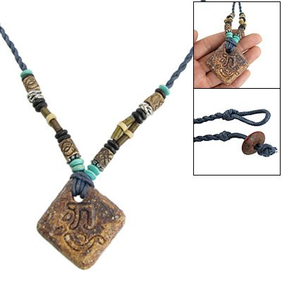 Rosallini Dark Blue Twisted String Rhombus Stone Pendant Necklace