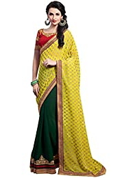 AK Yellow Faux Georgette Designer Saree With Blouse Piece