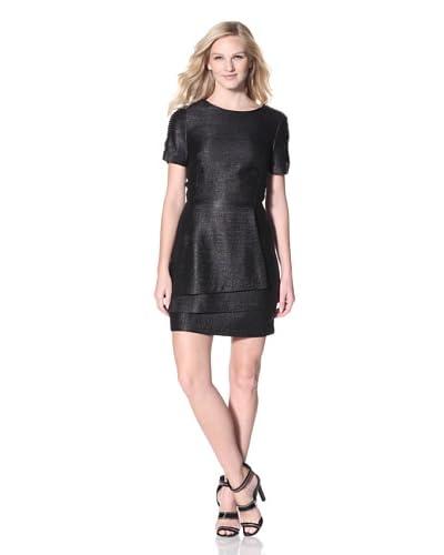 Veronica Beard Women's Basketweave Dress with Crystal Detail  - Black