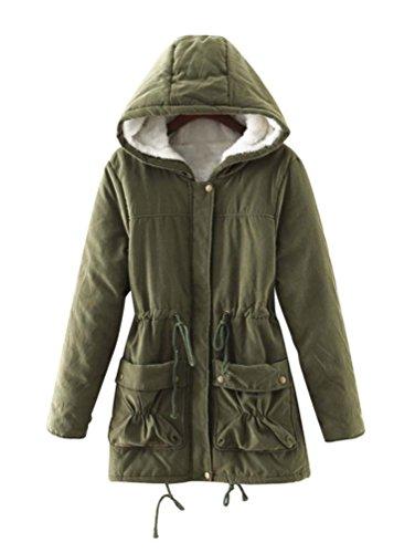 LvRao Donna Manica Lunga Calore Cappotti e Giacche Pelliccia con Cappotto Cappuccio Parka per Invernale # Army Green L