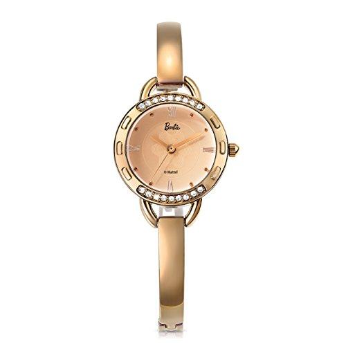 Barbie Orologio bracciale hip pop donna, cinturino in metallo, resistente all'acqua 3ATM, movimento al quarzo, Colore Marrone, Argento, Oro#B50845L (Argento)