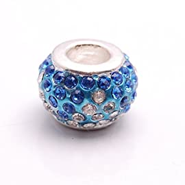 Bleek2Sheek Crystal Rhinestone Blue and Clear Charm Bead