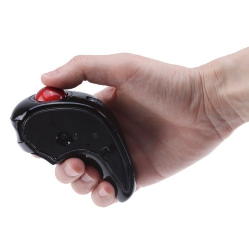 Brainydeal Black Wireless 2.4Ghz Optical Hand-Held Usb Trackball Mouse For Laptop Pc