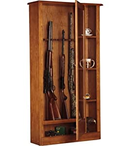 New American Wooden Glass Front 10 Rifle Locking Gun Cabinet w  3 Curio Shelves