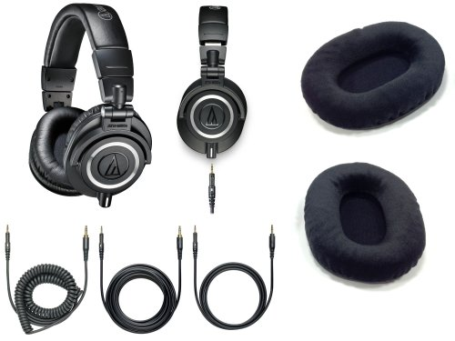 Audio-Technica Ath-M50X Professional Headphones - Black With Free Extra Set Of Velvet Earpads