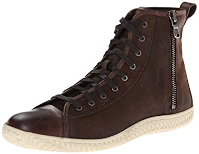 John Varvatos Men's Hattan Side Zip Fashion Sneaker,Chocolate,10 M US
