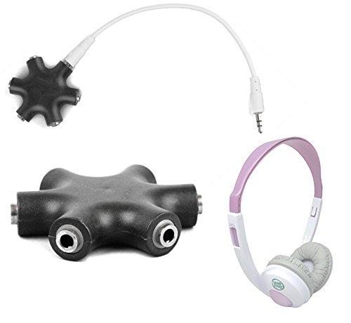 """Duragadget Jet Black 5-Way Headphone Splitter """"Star"""" For Leapfrog Explorer Headphones"""
