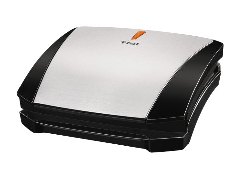 T-Fal Gc430 4-Burger Curved Grill With Non-Stick Plates, Silver