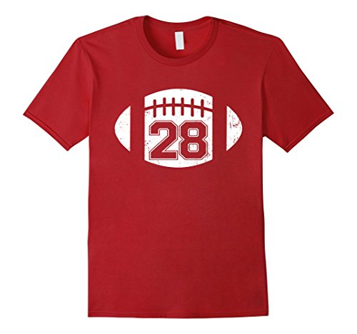 [Men's American Football Player Number 28 Distressed T Shirt 3XL Cranberry] (Male Football Player Costume)