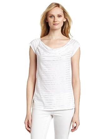(夏季)Calvin Klein Jeans Cowl Neck Top CK 女子 时尚 短袖 条纹 T恤 粉色 $27.94