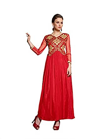 4c021c7565 Blissta Red long net Unstitched partywear gown available at Amazon for Rs .1299