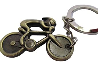 Bronze tone mini solid metal cycling keyring charm gift idea - posted from London only by Fat-catz