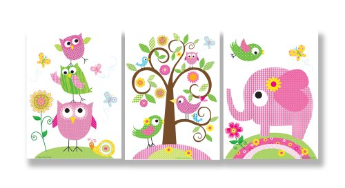 The Kids Room by Stupell Owls, Birds, and Elephant 3-Pc. Rectangle Wall Plaque Set