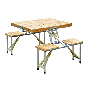 Outsunny Portable Folding Camping Picnic Table Party Field
