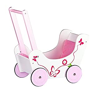 Classic wooden pram doll's buggy with bedding, Pushchair ...