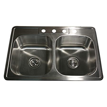 Nantucket Sinks NS3322-20-DE 33-Inch Drop-In Stainless Steel Double Bowl Kitchen Sink